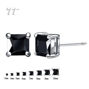 TT 18K White Gold GP Black CZ Square Stud Earrings A Pair 3mm-8mm (ES01D)
