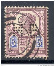 GB, Victoria  5d  with perfin   M B   (D)