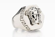Versace Ring Hexagon Medusa head Silver color Mens jewelry Hip hop Size 9 (19)
