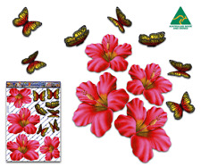 Jas Stickers Flower Car Sticker Red Hibiscus Butterfly Animal Lge Pack St023rd3