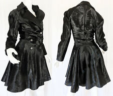 Alaia Black Fur Calfhair/Ponyskin Pleated Circle Skirt Trench Coat 38 $16,000