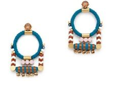 EUC J.Crew Rope Cord Earrings Nautical Teal Blue White Blogger Fav Sold Out
