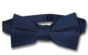 Vesuvio Napoli Boys BOWTIE Solid NAVY BLUE Color Youth Bow Tie