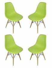 Set of 4 Eames Style DSW Molded Green Plastic Shell Chair with Wood Eiffel Legs