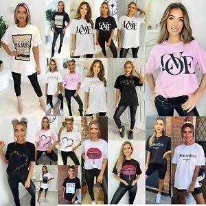 Womens Short Sleeve Paris Printed T-Shirt Ladies Slogan Oversized Casual Tee Top