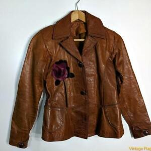 EAST WEST MUSICAL INSTRUMENTS Vtg Leather Cropped Blazer Jacket Womens XS Brown