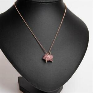 Kate Spade New York Mini Crystal Flying Pink Pig Pendant Necklace