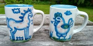 M.A. Hadley Pottery Coffee Cups Horse & Chicken Pr (2) Mugs Vintage THE END