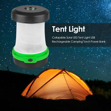 Collapsible Solar LED Tent Light USB Rechargeable Camping Torch Power Bank