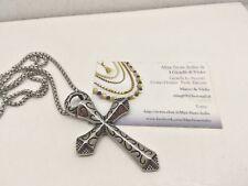 Collana Ciondolo Croce Acciaio Argento Uomo Donna Crocifisso I Gioielli Di Vicky