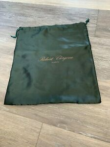 ROBERT CLERGERIE GREEN SATIN CLOTH DUST STORAGE BAG 14 1/4 X 12 1/2