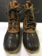 """Bean Boots by LL Bean Brown Rubber Leather 8"""" Ankle Boot Women Sz 8M Made USA"""
