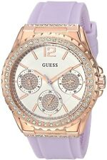 New Guess Ladies U0846L6 Multi Dial Crystals Rosegold Purple Silicone Band Watch