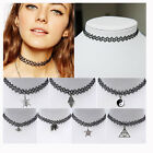 Hot Tattoo Choker Stretch Necklace Black Retro Henna Elastic Boho 90s Gothic CN