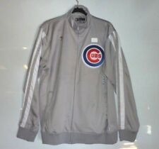 True Fan MLB Chicago Cubs JACKET Authentic GRAY / White Genuine Apparel NEW Grey