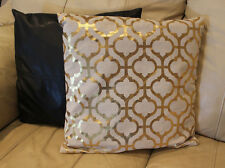 """Trellis Designer Pillow Cover By K and K Decorator Gold w Beige background 18"""""""