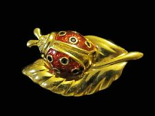 Swan Signed Swarovski Ladybug on Leaf Brooch Pin Black & Clear Crystal