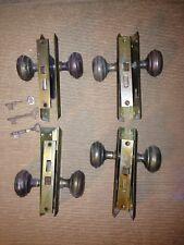 (4) Vintage Skeleton Keys Locks Handle Knobs Plate Hardware Original Brass Metal