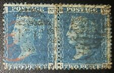 Gb Qv Sg47 2d.blue Plate14,Pair Red-Black Postmarks used stamps (No2215)*