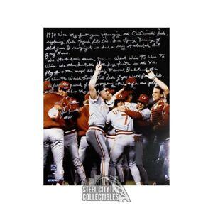 Lou Piniella Story Inscription Autographed Cincinnati Red 16x20 Photo - Fanatics