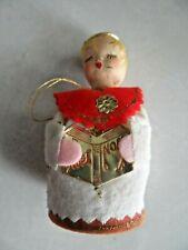 Vintage Christmas Ornament - Caroler w/ Flocked Cardboard Base & Felt Clothing