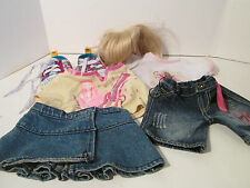 Build A Bear Hannah Montana Outfits 6 Pieces Wig & Shoes 2 Shirts & Jeans