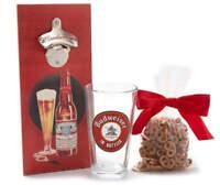 NEW Budweiser Limited Edition Wall Mounted Bottle Opener Pint Glass & Pretzels