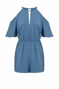 Rachel Zoe Women's Romper Blue US Size 4 Cold-Shoulder Keyhole Beaded $395- #413