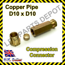 10x10mm Straight Compression Connector copper pipe Joint Coupling Gas Water Lpg