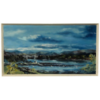 20th Century Oil Painting Wales Menai Bridge Church Straits Snowdonia Mountains