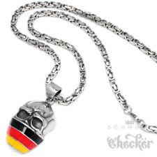 Edelstahl Anhänger Schädel Deutschland Flagge Hooligan Fan Königskette Germany
