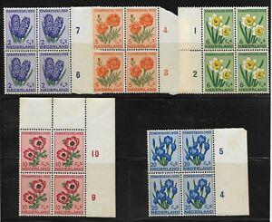 NETHERLANDS. 1953 FLOWERS SET (5) MNH. MARGINAL BLOCKS OF 4. SG764 - 8 (1139)