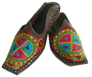 Indian Women Slippers Leather Shoes Handmade Embroidered Clogs UK 1.5 EU 34