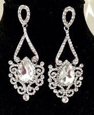 Rhodium Plated Rhinestone Style Bridal Bridal Drop Chandelier Dangle Earrings