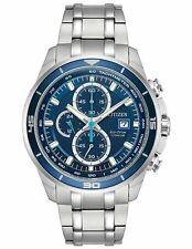 New Citizen Eco-Drive Super Titanium Blue Dial Chronograph Mens Watch CA0349-51L