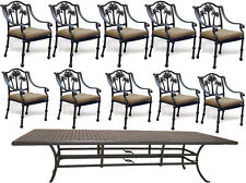 "11 Piece Cast Aluminum Patio Dining Set Nassau Table 120"" Palm Tree Chairs."