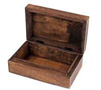"""Artist Haat 6"""" Hand Carved Wooden Storage Box Jewelry Trinket Holder Gift"""