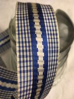 "1 yard 1 1/2"" wide vintage roll Gingham Blue Vintage  ribbon Rayon dress"