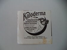 advertising Pubblicità 1914 KALODERMA - F. WOLFF & SOHN
