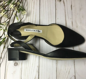 NEW! Manolo Blahnik Pump Aspro Slingback Black Leather sz 38.5/8.5