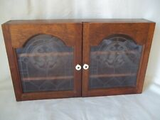 "Vintage Hanging Table Top Wood & Glass Display Cabinet Case 2 Shelves 23"" x 13"""