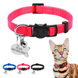 Breakaway Pet Cat Personalised Collar ID Name Tag Engraved Safety Quick Release
