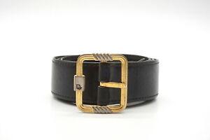 Christian Dior Vintage Waist Belt CD Gold Buckle Leather Black 3710k