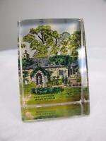 ANTIQUE VICTORIAN SOUVENIR GLASS PAPERWEIGHT - OLD CHURCH BONCHURCH
