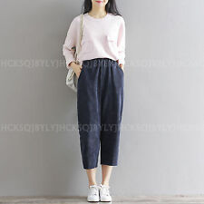 Vintage Women Corduroys Casual Loose High Waist Wide leg Cropped Pants Trousers