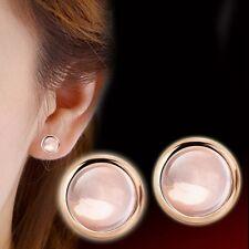 Mujer Pendientes De Botón Chapado En Oro Rosa Aretes Ronda Cristal Stud Earrings