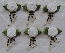 12 pcs White Beaded Fringe Satin Ribbon Roses -35 MM (W)-RB012W