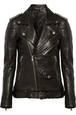 Black Leather Jacket Women Motorcycle Biker Size S M L XL XXL Genuine Leather P1