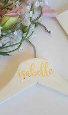 Personalized White Wooden Coat hanger-ideal for bridal parties, special occasion