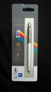 Parker Medium Point Ballpoint Pen White Barrel Blue Ink 2096874